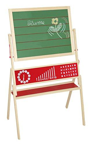 roba Tafel, Standtafel drehbar mit Schreibtafel liniert, Maltafel magnetisch, Uhr, ABC, Zahlen & Ablage, Kindertafel Holz, natur