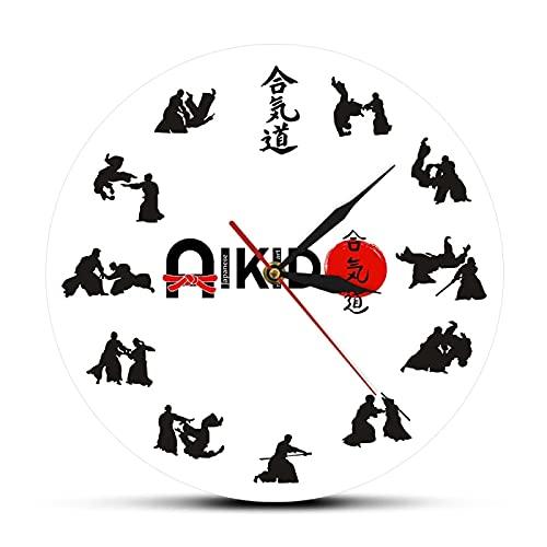 xinxin Wanduhr Die Sieben Tugenden von Bushido Östlicher Kampfstil Aikido Wanduhr Japanische Kampfkunst Kampfsport Dojo Dekor Stille Uhr