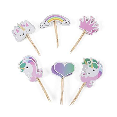 CAILI Unicorn Cake Topper,Arcobaleno Cuore Corona Cupcake Topper - Unicorn Torta Topper Party Decoration Set Bomboniera Compleanno, Matrimonio e Baby Shower (72 Pezzi)