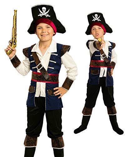 Magicoo - Costume da pirata da bambino, blu, bianco, nero, taglia: da 92 a 140. Costume da pirata per bambino.