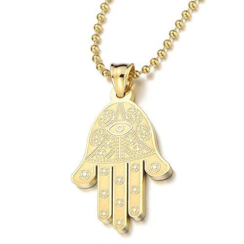 COOLSTEELANDBEYOND Oro Hamsa Mano de Fátima, Protección Colgante, Collar de Mujer de Homre, Acero Inoxidable, Bola Cadena 60CM