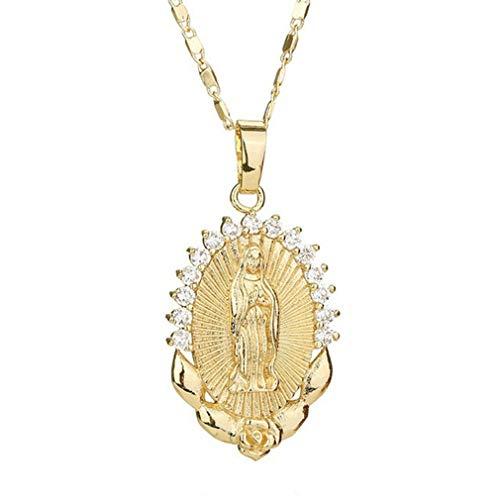 Pinhan Exquisito collar con colgante de moneda ovalada medallón ovalado Nuestra Señora de Guadalupe Virgen María collar gargantilla para mujer, Aleación, dorado, 52 cm