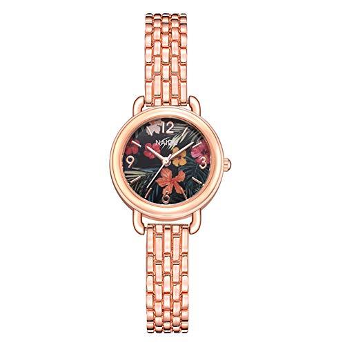 GYCOZ Reloj de pulsera analógico de cuarzo con esfera floral y correa de aleación de lujo para mujer (# 2)