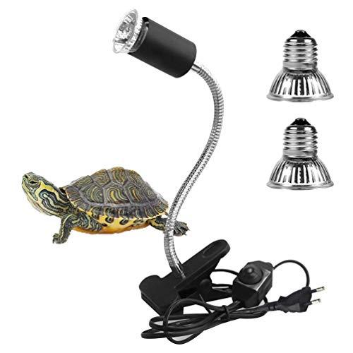 LEDGLE Schildkröte Wärmelampe, Wärmespotlampe für Aquarium Reptil mit Clip E27 Lampen 25W 50w 360°Drehbar für Reptilien, Eidechsen, Schildkrötenschlangen Haustier Habitat Heat Glühbirnen