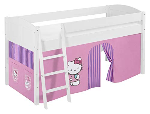 Lilokids Lit Mezzanine IDA 4106 Hello Kitty Lilas - Système de lit évolutif Convertible Blanc - avec Rideau