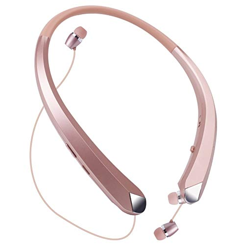 2020 Upgraded Bluetooth Headphones Retractable Earbuds Wireless Neckband Headset Sports Noise Cancelling Stereo Earphones with Mic by Viceting (15 Hrs Playtime, Call Vibrate Alert) (Rose Gold)
