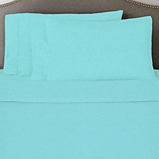 PH 3 Piece Twin XL Tiffany Blue Bed Sheet Set, Fitted Sheet Deep Pocket Depth, Solid Color Pattern, Casual Style, Machine Wash, Cotton/Heavy Weight Flannel Material, Aqua Blue