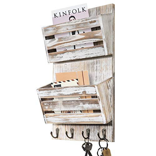 Unistyle Rustic Mail Key Holder for Wall with 4 Key Hooks, Mail Organizer Wall Mount , Wall Mail Organizer Key Hanger, Mail Holder Wall Mounted for Letter, Magazines, Keys, Leashes (White)