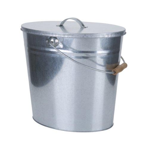 Kamino-Flam Zink-Ascheeimer mit Deckel - Kohleneimer klein, 15l - Kohleeimer verzinkt - Zinkeimer / Asche-Mülleimer als Kamin-Zubehör, für den Grill & für Kohlen