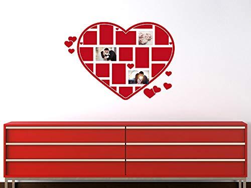 GRAZDesign muursticker fotowand fotolijst voor vele foto's - decoratie woonkamer modern hart vorm / 160097