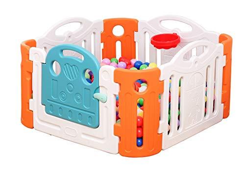 Clamaro 'Crazy Zoo' Garten Baby Laufstall mit Tür und Verriegelung, keine spitzen Kanten oder Ecken, Laufgitter aus wetterfestem und UV-beständigem Kunststoff, inkl. Mini Basketball und Korb