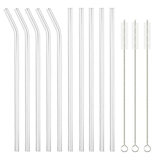 """Glass Straws Clear 9"""" x 10 mm Drinking Straws Reusable Straws Healthy, Set of 10 with 3 Cleaning for Smoothie, Milkshakes, Bubble Tea,Reusable, Eco Friendly, BPA Free, Shatter Resistant"""