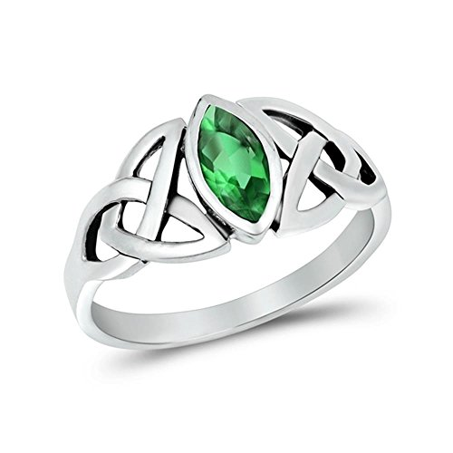 Glitzs Jewels Sterling Silver Simulated Emerald Celtic Design Ring, 9mm Choose Your Color
