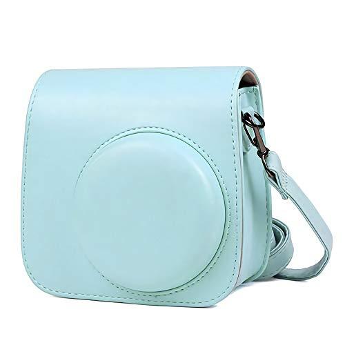 Hülle Abdeckung Leder Kameratasche für Instax Mini 9 / Mini 8 8+ Sofortbildkamera mit abnehmbaren Riemen,Blau