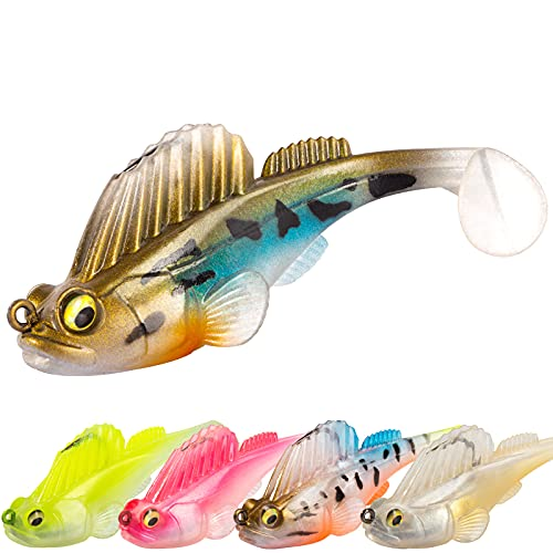 Basskiller D-75 Fishing Lures Saltwater, Bass Fishing Lures, Fin Guarded Hook Bluegill Swimbait, Enticing Action Soft Plastic Swimbaits for Muskie Walleye, Fishing Bait Freshwater with Soft Tail