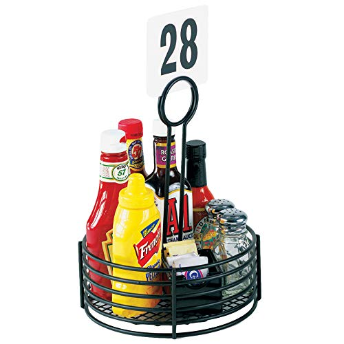 GET Enterprises Black Round Stainless Steel Condiment Caddy Iron Teflon Coated Table Caddies Collection 4-31860 Pack of 1