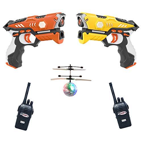 COSTWAY Juego de Etiquetas Pistola de Juguete Infrarroja con Modo Multijugador,4 Modos,Función de Luz y Efecto de Sonido