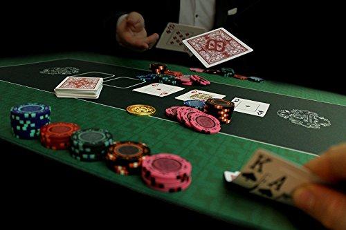 Bullets Playing Cards Profi Pokermatte grün in 160 x 80cm eigenen Pokertisch – Deluxe Pokertuch – Pokerteppich – Pokertischauflage – ideal als Geschenk - 6