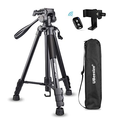 UBeesize 60-inch Camera Tripod, 5kg/11lb Load TR60 Portable Lightweight Aluminum Travel Tripod with Carry Bag & Smartphone Bluetooth Remote