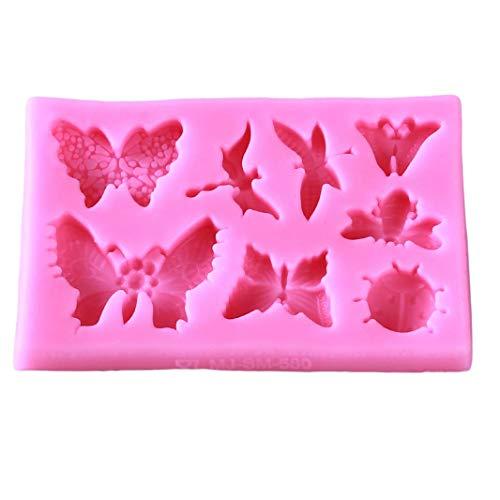 Molde de silicona para tartas, diseño de libélula, diseño de mariposa, color rosa, cómodo y respetuoso con el medio ambiente