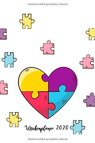 Wochenplaner 2020: Terminplaner 2020 | Jahreskalender A5 | Timer | Erzieher Sozialarbeit Lehrer Geschenk | 160 S. | A5 |  Herz und Puzzle