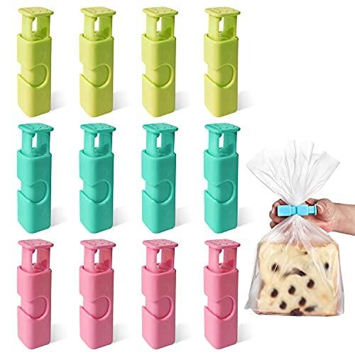 Clips para bolsas de pan, clips para bolsas de alimentos, para pan, frutos secos, frutas secas, alimentos congelados, agarre antideslizante, fácil de apretar y cerrar