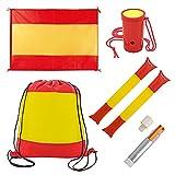 Súper Pack para animar a la Selección Española de Futból Durante la Eurocopa 2021. Mochila, Aplaudidor, Pintura para la Cara, Mini Bocina y Bandera de España