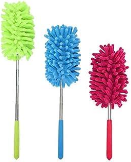 Cosswe Plumero extensible, 3 piezas de microfibra, lavables, con varilla telescópica, plumero, plumero, para hogar, ventiladores de techo alto, oficina, limpieza de coche