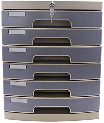 Ablageschränke Aktenschränke Vertikal 6 Schubladen Desktop Datenaufbewahrungsbehälter-Key Lock Büroschrank aus Kunststoff 29,8 * 38,2 * 36.6cm Home Office Möbel Bürobedarf
