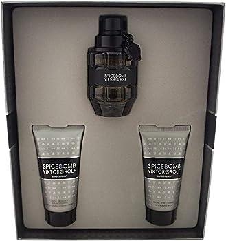 Viktor and Rolf Spicebomb for Men - 3 Piece Gift Set 1.7oz Eau de Toilette Spray 1.7oz Non Foaming Shaving Cream 1.7oz After Shave Balm 3 Count