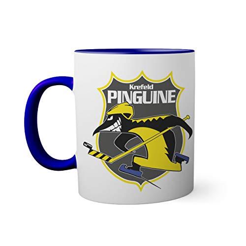 Ice Hockey Team Krefeld Pinguine Eishockey Tasse innen und am Henkel dunkelblau außen weiß 330ml