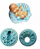 KIRALOVE Molde de Silicona con Forma de niño - recién Nacido - bivalvo - Concha - jabón - Resina - Yeso - Bricolaje - hágalo Usted Mismo - Hobby - yesos - Plantilla para Uso Artesanal