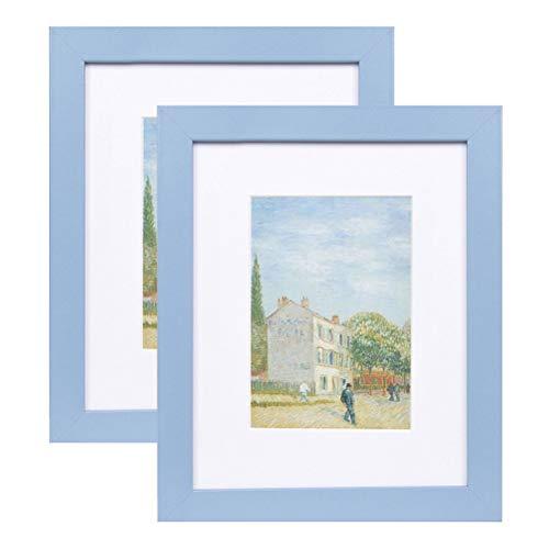 Muzilife Bilderrahmen 20x25cm 2er Fotorahmen Set, mit Passepartout für 13x18cm Foto, für Wohn- und Schlafzimmer Deco (Blau)