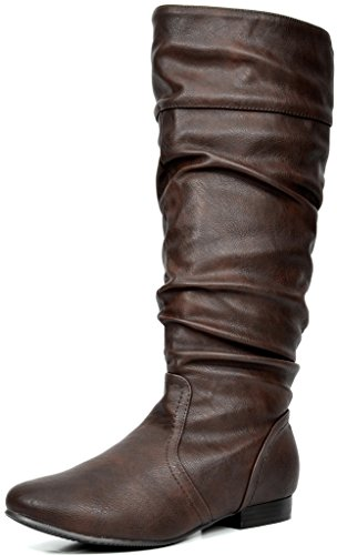 DREAM PAIRS Women's BLVD Brown Knee High Pull On Fall Weather Boots Size 9.5 M US