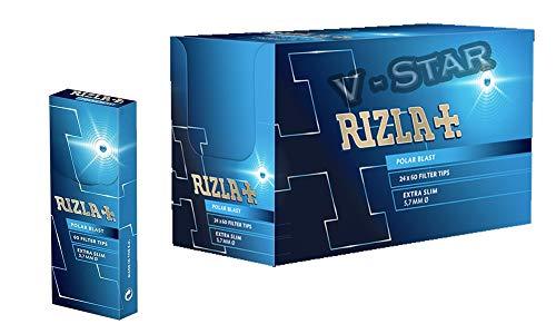 RIZLA Polar Blast Filter Tips EXTRA Slim POP CRUSHBALL Menthol Smoking Rolling Filter Tips - 24...