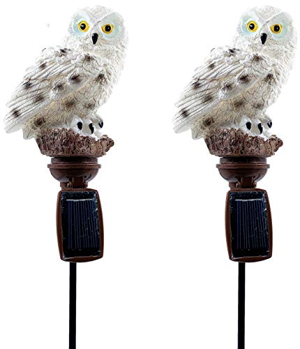 Solar White Owl Outdoor Garden Light (2pcs)
