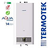 TERMOTEK AQUAPOWER C14S - SCALDABAGNO A GAS CAMERA STAGNA 14 LITRI A METANO LowNOx...