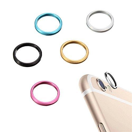 NOBRAND Cámara Trasera Cristal Lente de Metal Protector Anillo de aro Círculo Cubierta de la Caja Anillo para iPhone 6S Plus 5.5 Pulgadas - Negro