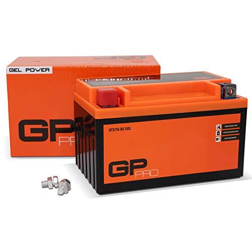 GP-PRO GTX7A-BS 12V 7Ah GEL-Batterie (Kompatibel mit YTX7A-BS / 50615) (Wartungsfrei & Versiegelt) Akkumulator Motorrad Roller Motorradbatterie Rollerbatterie