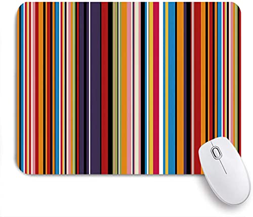 ZOMOY Gaming Mouse Pad Abstract Pattern Vibrant Colored Stripes Vertical Pattern Funky Modern Tile Illustration 9.5'x7.9' Nonslip Rubber Backing Mousepad for Notebooks Computers Mouse Mats