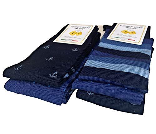 Lucchetti Socks Milano 6 paia calze uomo lunghe estive in diverse fantasie, cotone mercerizzato fresco e leggero Taglia Unica (Set Vascello)