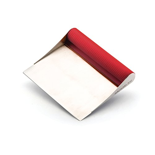 Rachael Ray Tools and Gadgets Stainless Steel Pastry Scraper / Bench Scrape / Kitchen Tool for Baking and Cooking / Dishwasher Safe, Red