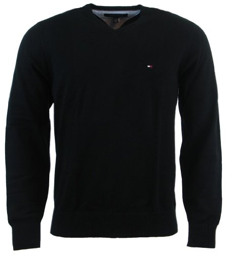 Tommy Hilfiger Men's V-Neck Long Sleeve Pacific Pullover Sweater, Black, X-Large