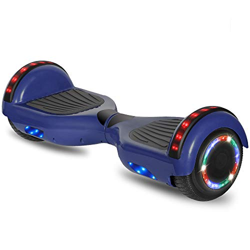 cho 6.5' inch Hoverboard Electric Smart Self Balancing Scooter with Built-in Wireless Speaker LED Wheels and Side Lights Safety Certified (STD-Blue)