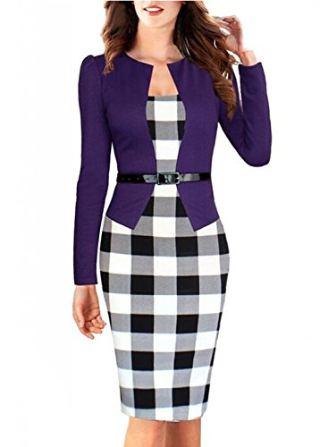 Womens Fashion OL Color Matching Plus Size One Piece Cocktail Evening Dress, X-Large, Purple