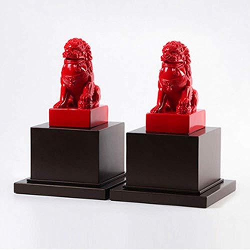 AZYQ Beijing Lions Pair Fu Foo Dogs, ein Paar Wächterstatuen aus weißem Stein, beste Einweihungsfeier zum Abwehren der bösen Energie, Messing,rot