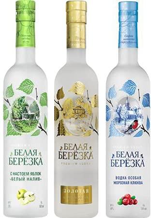 Dreier Paket White Birch Vodka - 1xGold, 1xBelij Naliv, 1x Frosty Cranberry 40% vol. (3x0,5L)
