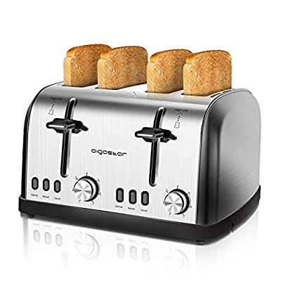 Aigostar 4 Slice Toaster 1900W Stainless Steel with High Lift & Wide Slots, Dual 7-Variable Browning Control, with Defrost, Reheat and Cancel Buttons, Silver - Parker 30QVB.