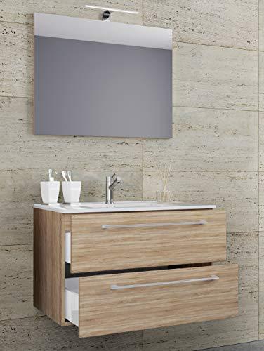 VCM 3-TLG. Waschplatz Set Waschtisch Waschbecken Keramik Sentas Spiegel + 2 Schubladen Breite 80 cm, Sonoma-Eiche