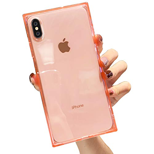 Facweek Square Case Compatible with iPhone Xs Max Clear Xmax Cases Reinforced Corners Soft TPU Cushion Ultra-Thin Slim Cover Silicone Shell-Clear Pink